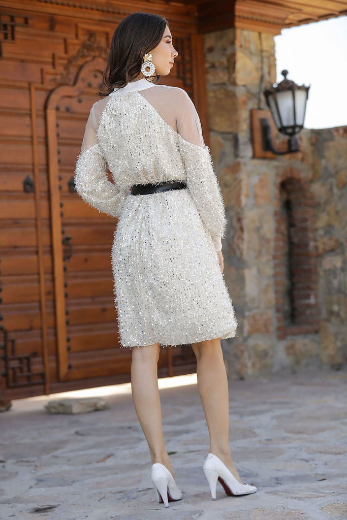 Sequined White A-Line Long Sleeve Dress TKELB0203D5115