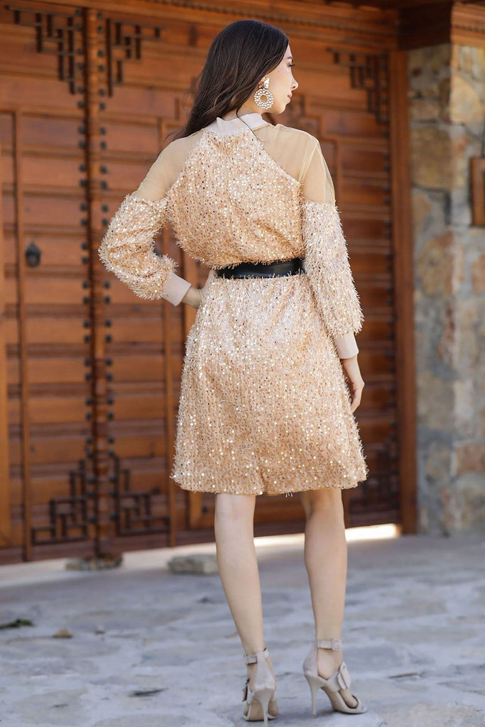 Sequined Champagne Color A-Line Long Sleeve Dress TKELB0203D5115