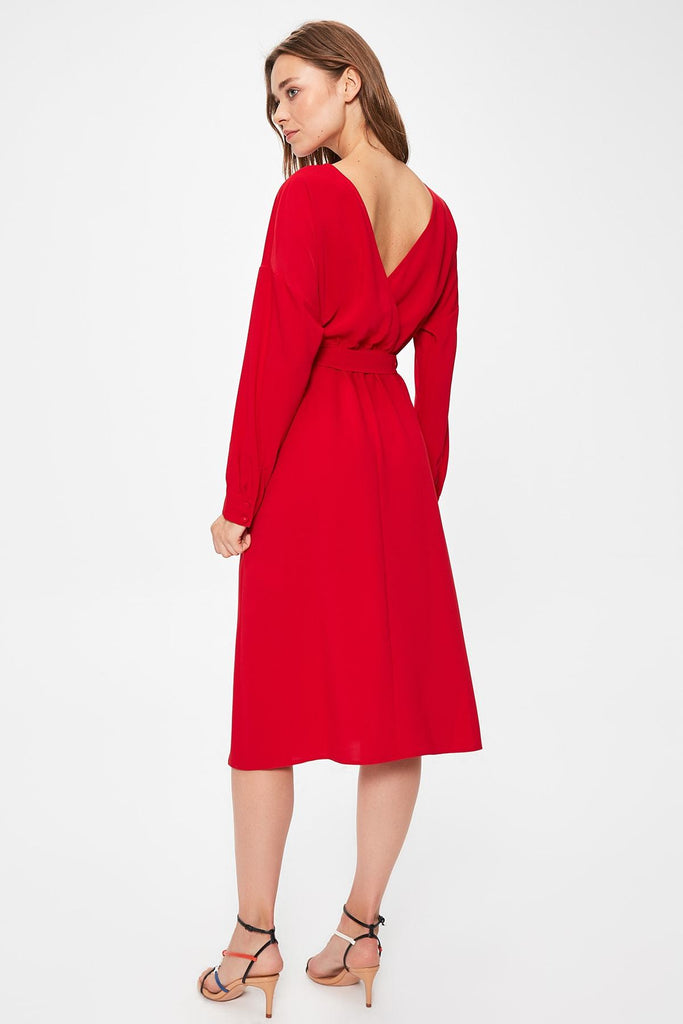 Red Mother Of the Bride Midi Dress TKTWOAW20EL1101