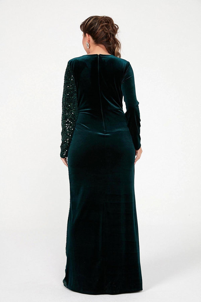 Plus Size V-Neck Long Velvet Dress TKS-20K0290013
