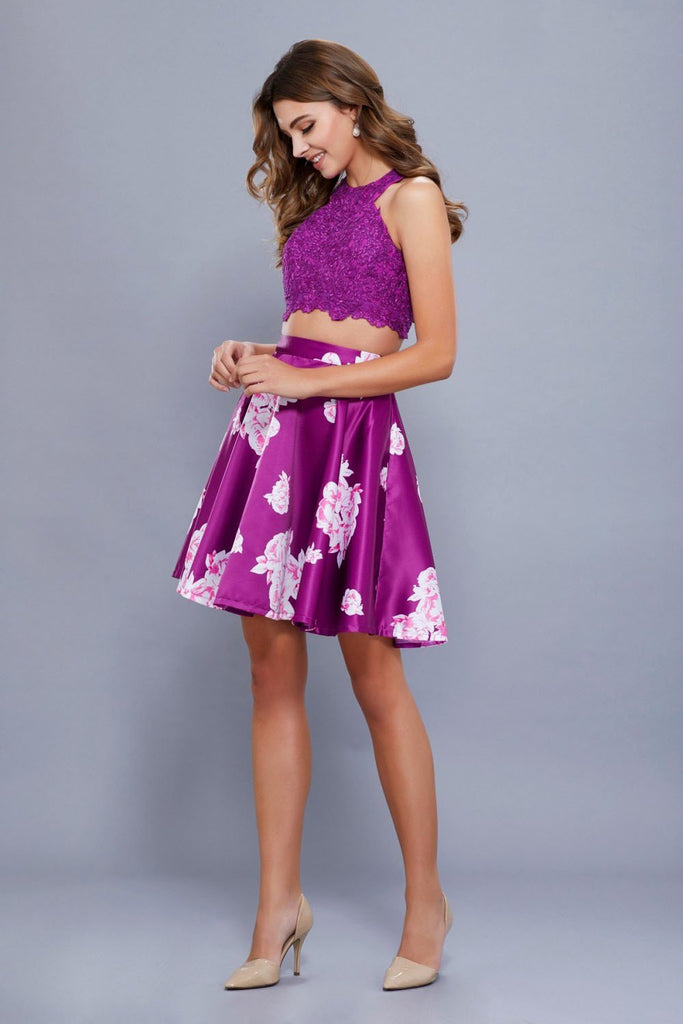 High Neckline Floral Print A-Line Homecoming Dress NX6219