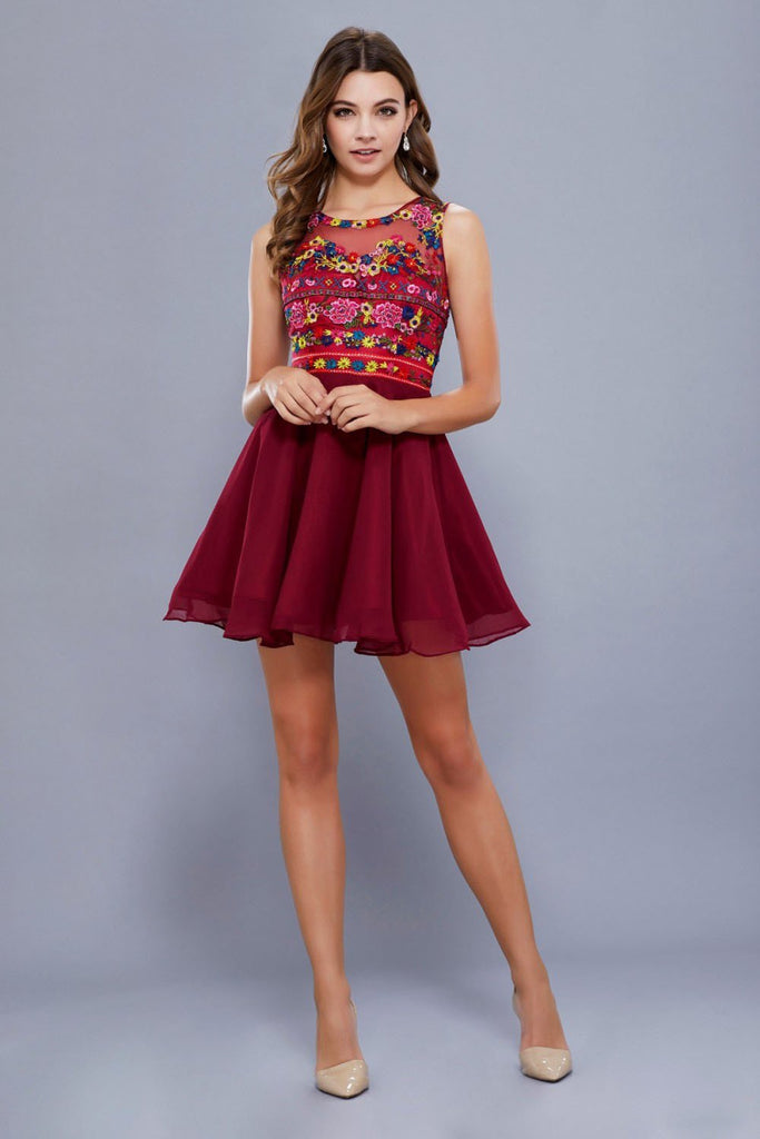 Illusion Sleeveless Short Homecoming Dress NX6239