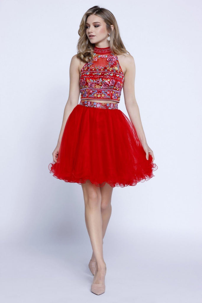 Patterned High Neckline Two Piece Short Homecoming Dress NX6272
