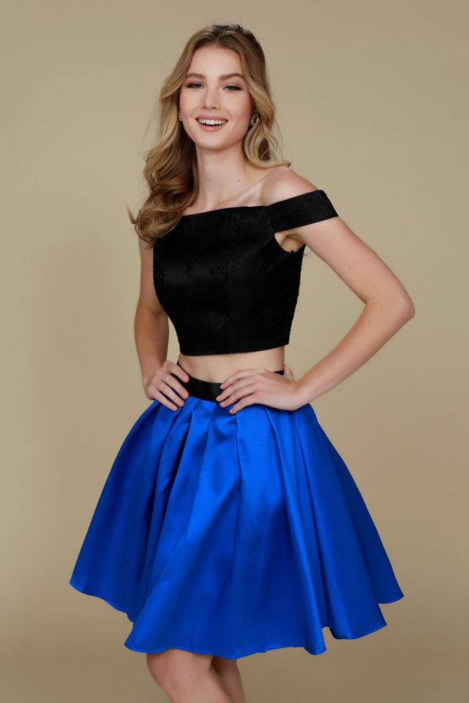Off-Shoulder Two Piece Homecoming Short Dress NX6336