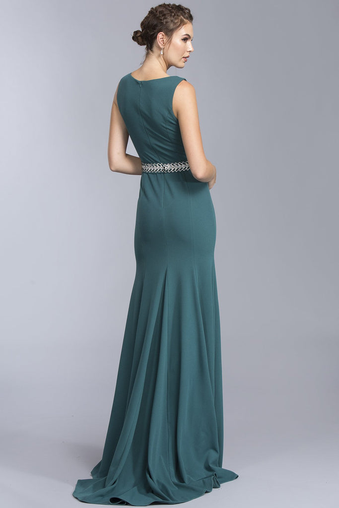 Hunter Green Elegant Bateau Long Dress 2