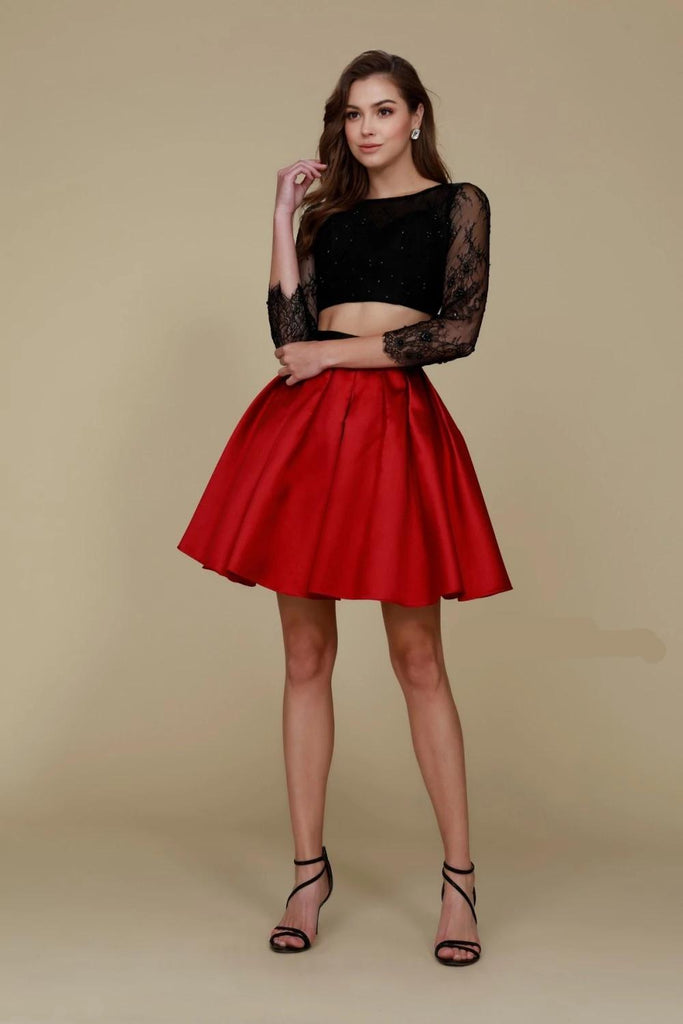 Two Piece Black/Red Short Homecoming Dress NX6371