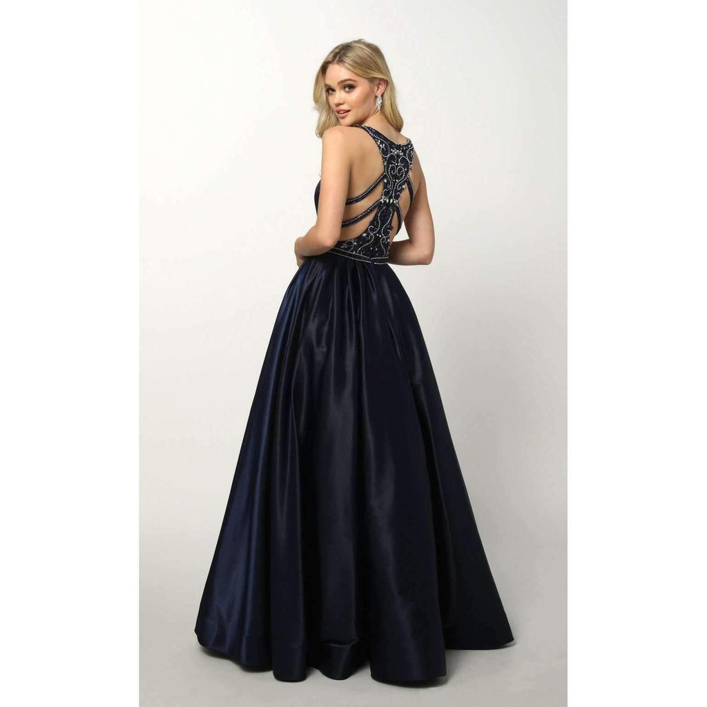 V-Neckline Sleeveless Long Prom Dress JT690