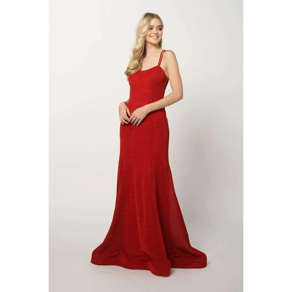 Spaghetti Straps Bateu Neckline Long Prom Dress JT697