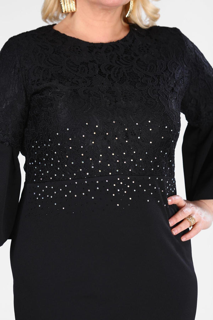 Plus Size Black Sequinned Long Sleeves Evening Dress TKELB0001D8462