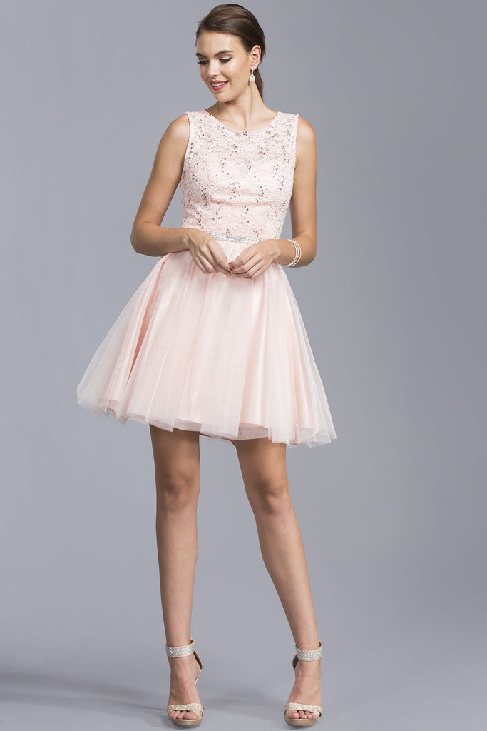 Bateau Beautiful Short Dresses With Jewels APD127-Short Dresses-alwaysprom.com