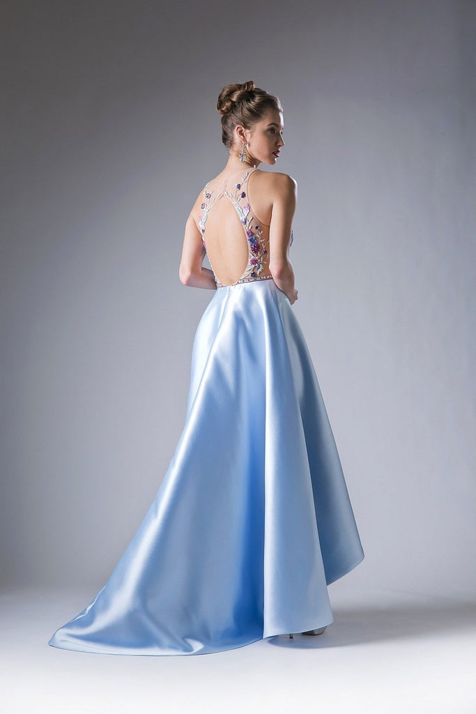 Beaded Bodice Satin Illusion Neckline Long Prom Gowns CD71150