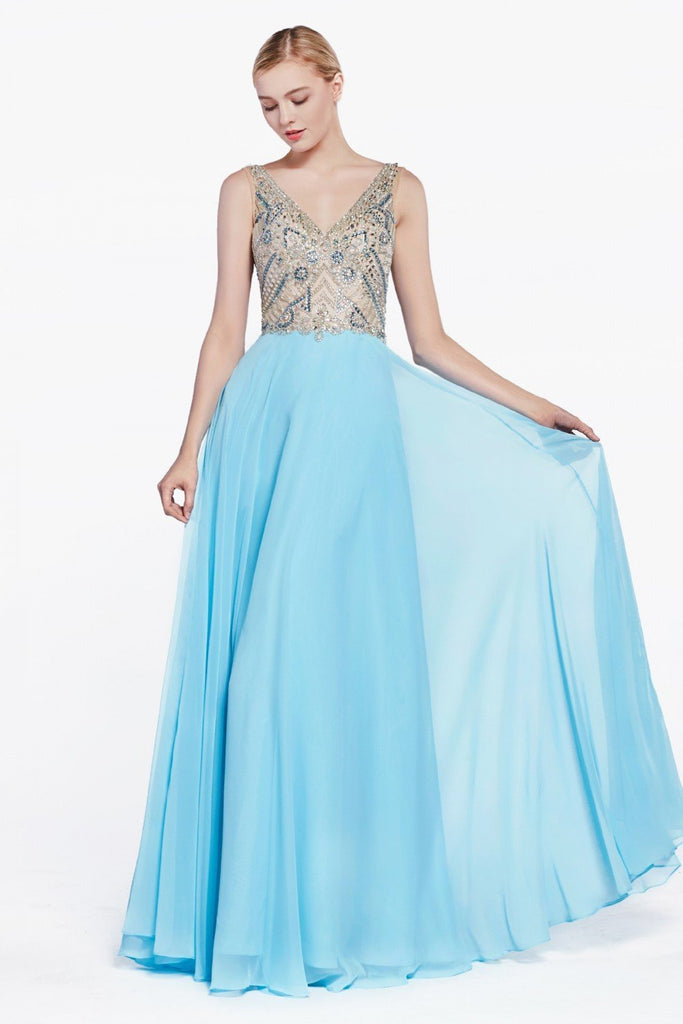 Jeweled V-Neckline Sleeveless Long Prom Dress CD71190