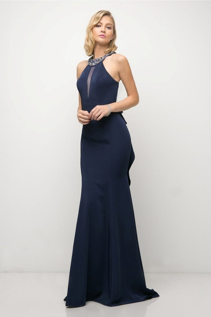 Halter Neckline Sleeveless Mermaid Long Prom Dress CD71484