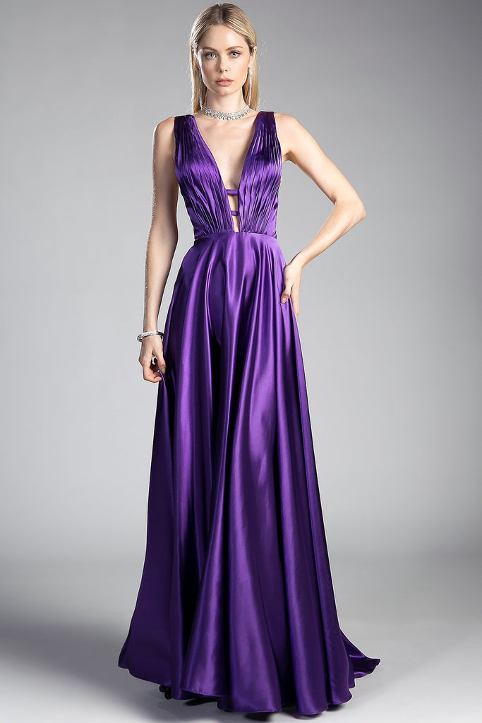 V-neck Long Celebrity Prom Gowns CDCF293-Prom Dresses-alwaysprom.com