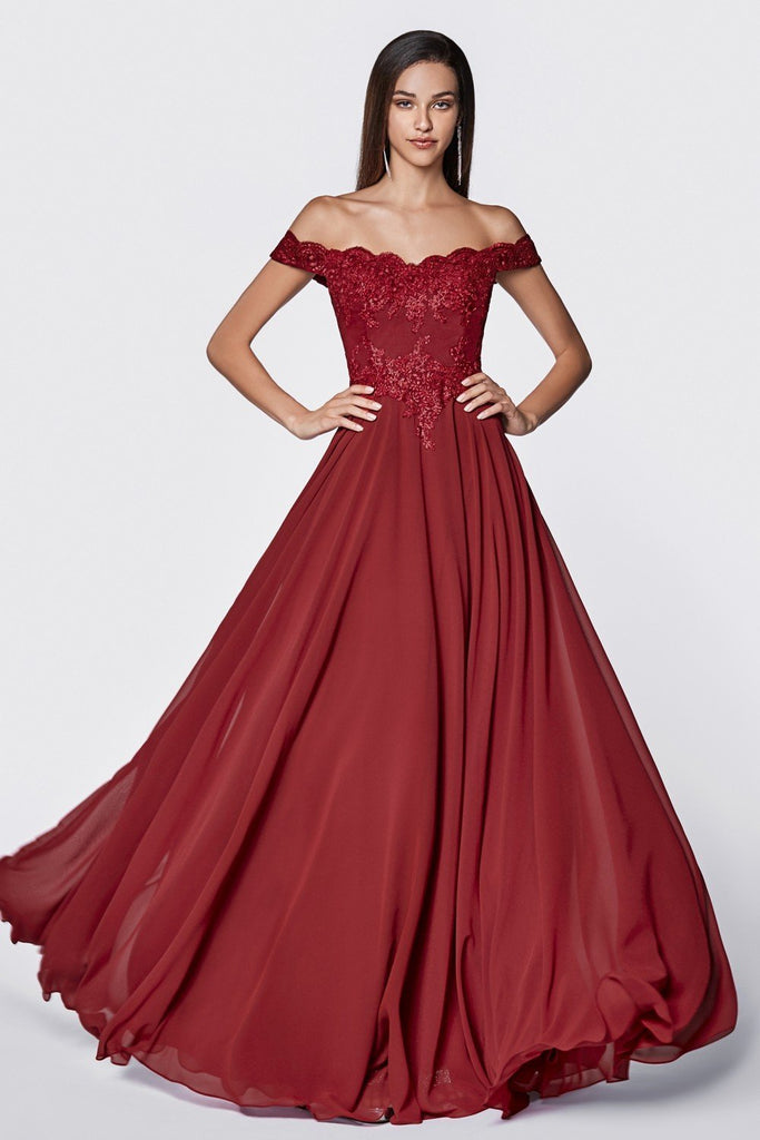 Off-Shoulder Floral A-Line Long Evening Dress CD7257