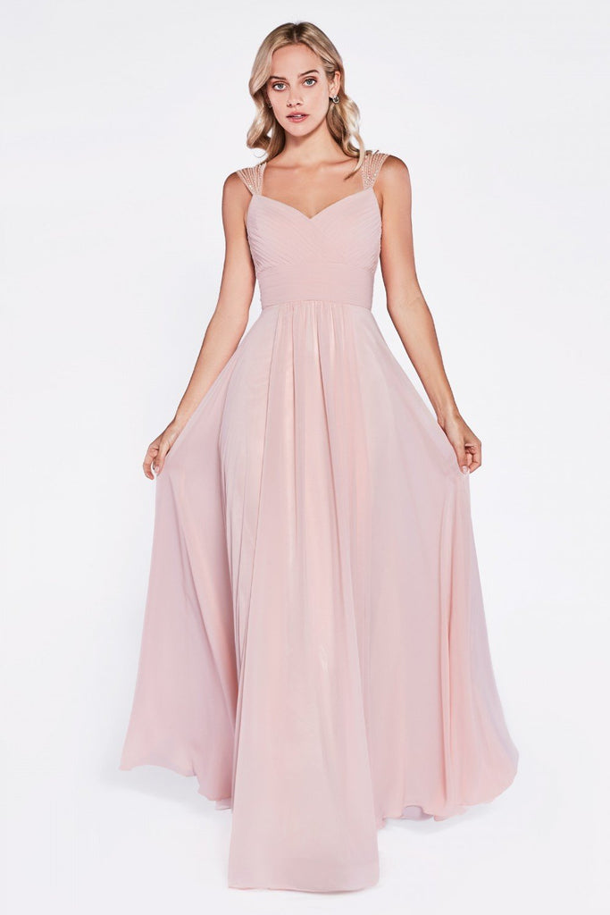 V-Neckline Sleeveless A-Line Long Evening Dress CD7461