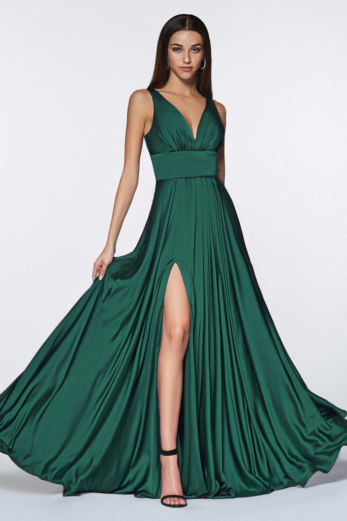 SALE! Satin Flowy A-line Long Prom Dress with Leg Slit CD7469