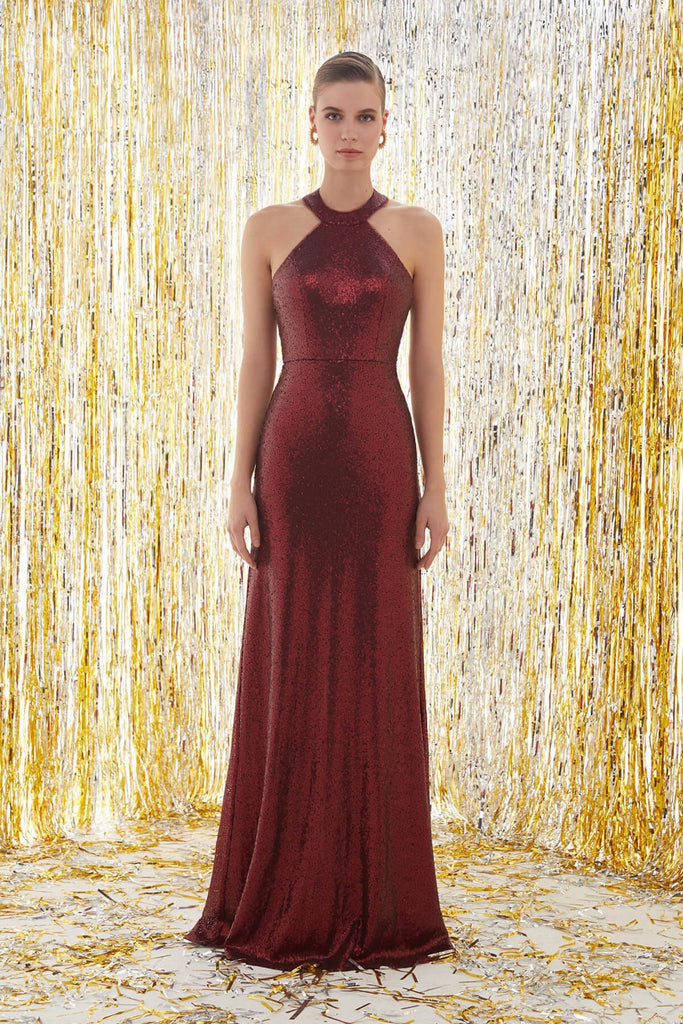 BURGUNDY Halter Neckline Sleeveless Glitter Long Prom Dress TK4XLVC3772V1
