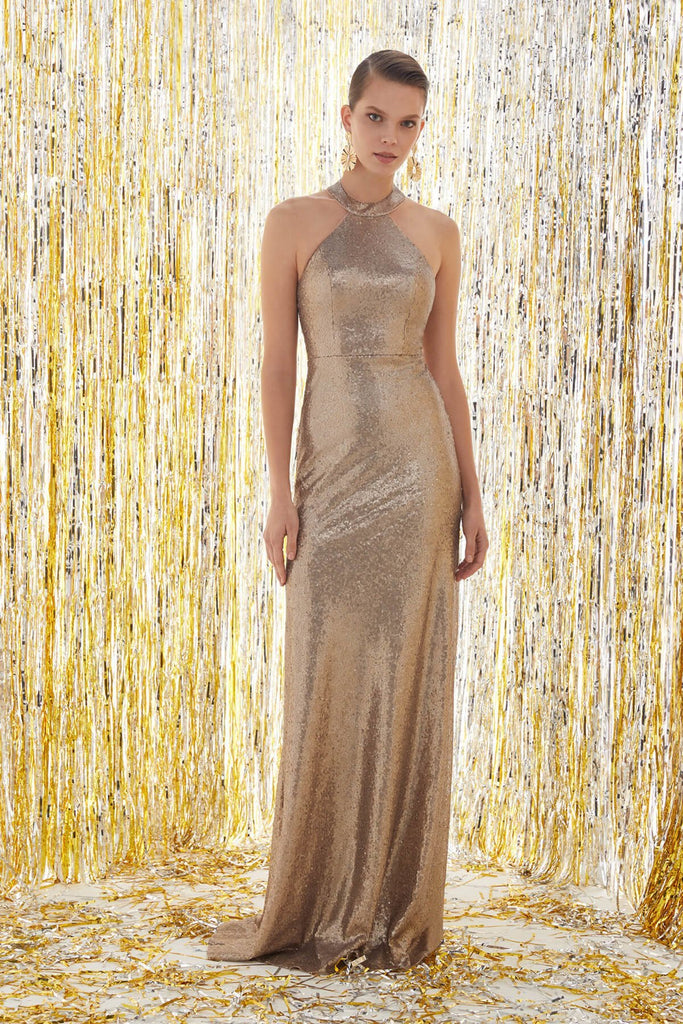 Halter Neckline Sleeveless Glitter Long Prom Dress TK4XLVC3772V1