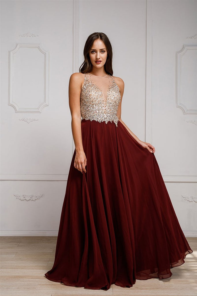 Celebrity Trendy Long Evening Beaded Gown Dress AC784-Evening Dresses | Smcfashion.com-smcfashion.com