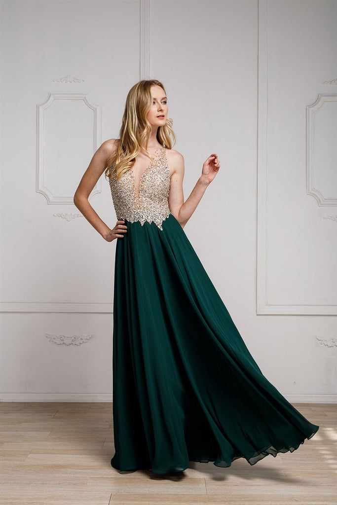 Wholesale Celebrity Trendy Long Evening Beaded Gown Dress AC784-Evening Dresses | alwaysprom.com-alwaysprom.com