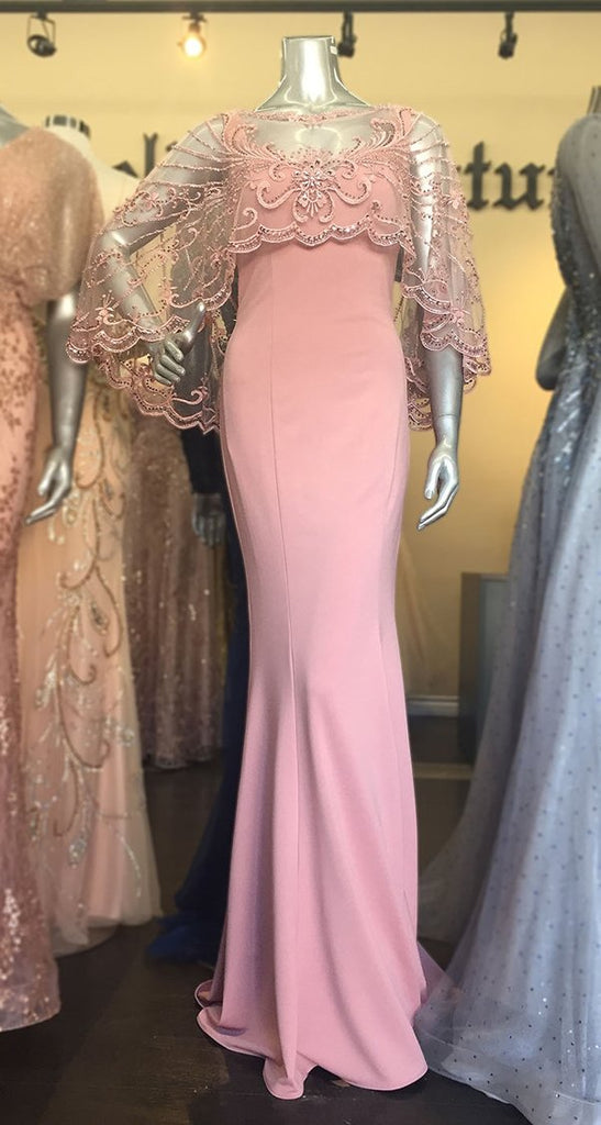 Illusion Beaded Neckline Sleeveless Long Evening Dress CD788