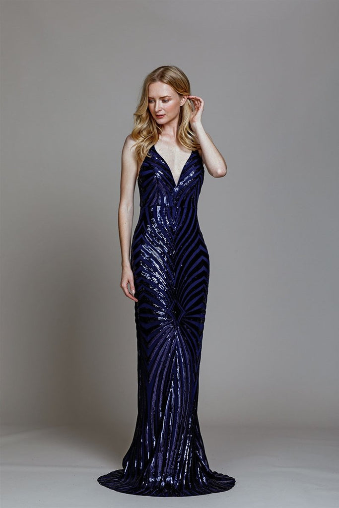 Sequined V-Neckline Mermaid Long Prom Dress AC789