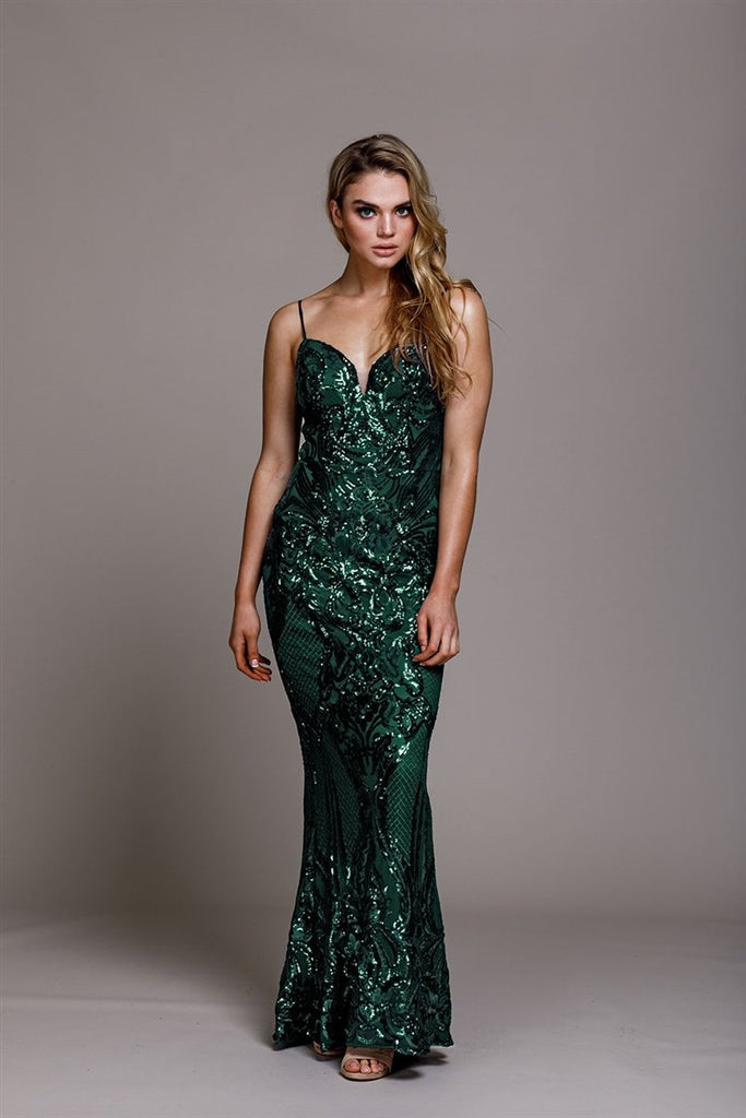 Sequined Sleeveless Long Prom Dress AC791