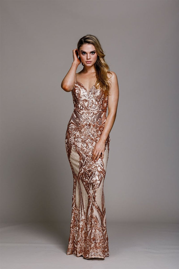 Sequined Sweetheart Neck Long Evening Dress AC791