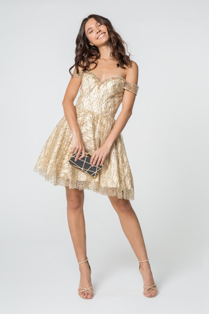 Off-Shoulder Jeweled Short Homecoming Dress GSGS2834