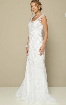 Illusion Neckline Wedding Long Dress JT#677W