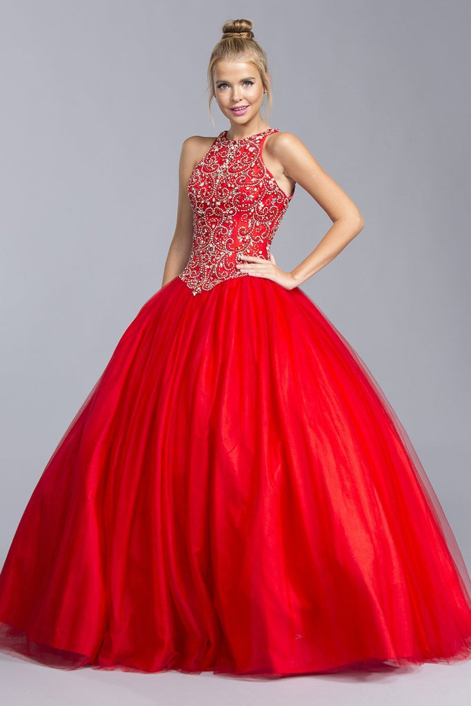 Red Ballgown Dress With Open Back