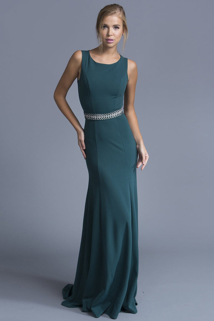 Hunter Green Elegant Bateau Long Dress