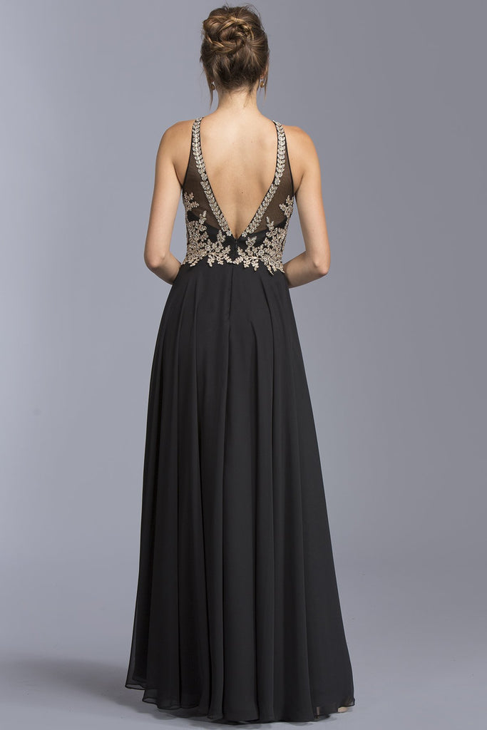 Halter Long Formal Dresses With Open V-back APL1988-Evening Dresses-alwaysprom.com