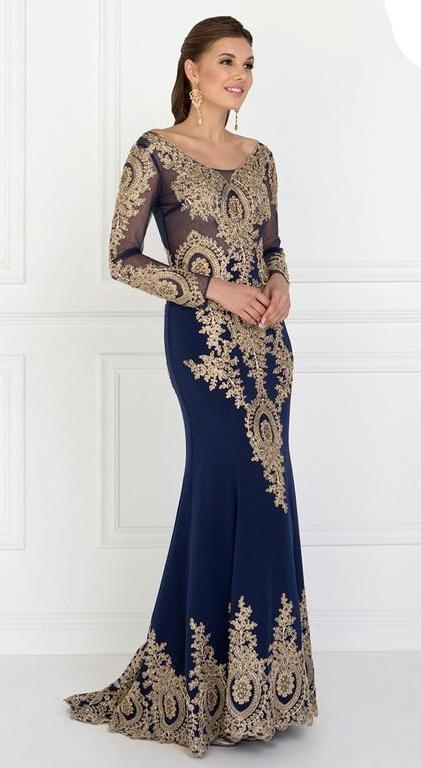 2019 NEW Rome Jersey Mermaid Long Evening Dress with Sheer V-Back GSGL1597