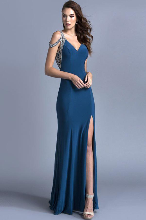 Elegant Evening Cute Long Gowns With V-neck APL2007-Prom Dresses-alwaysprom.com