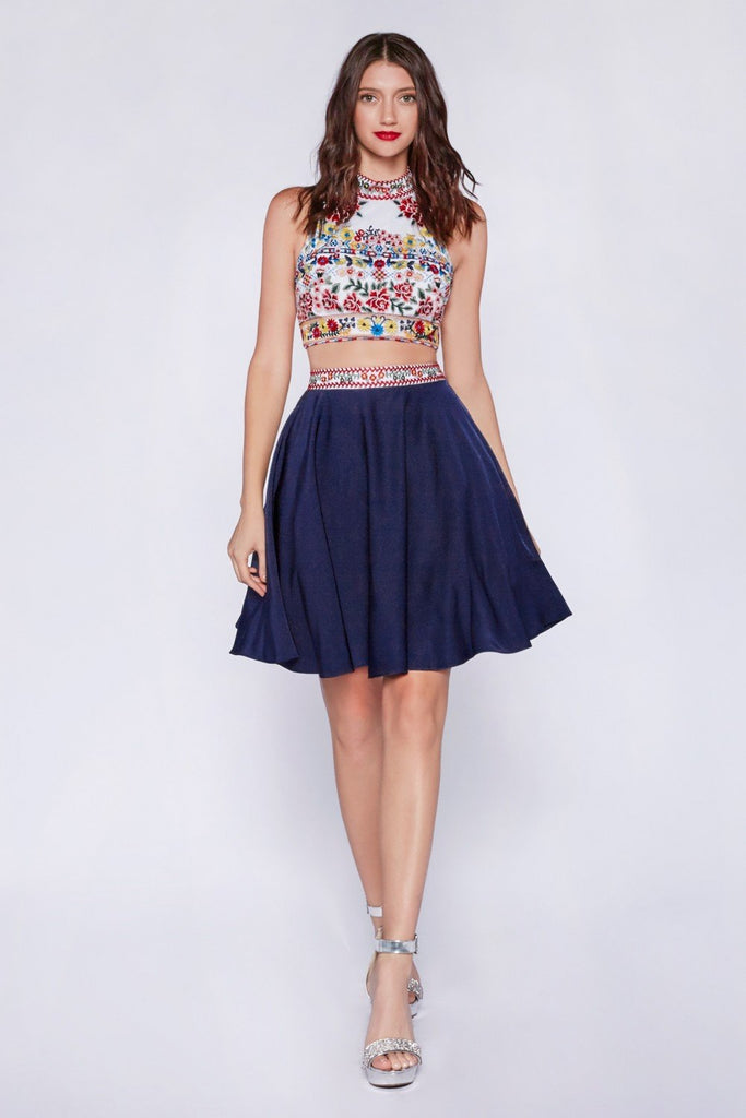 High Neckline Sleeveless Two Piece Short Cocktail Dress CD82411