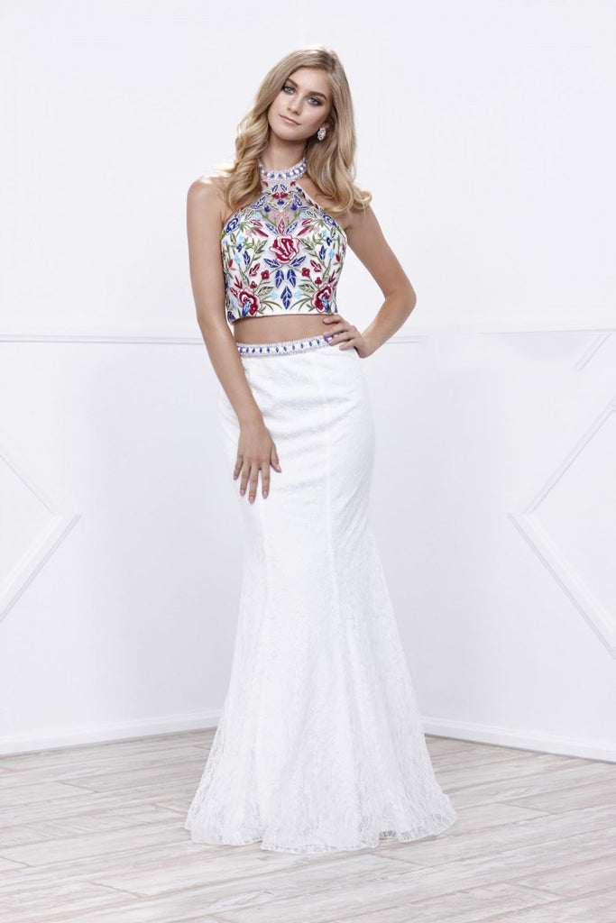 Jeweled Halter Neckline Two Piece Long Prom Dress NX8262