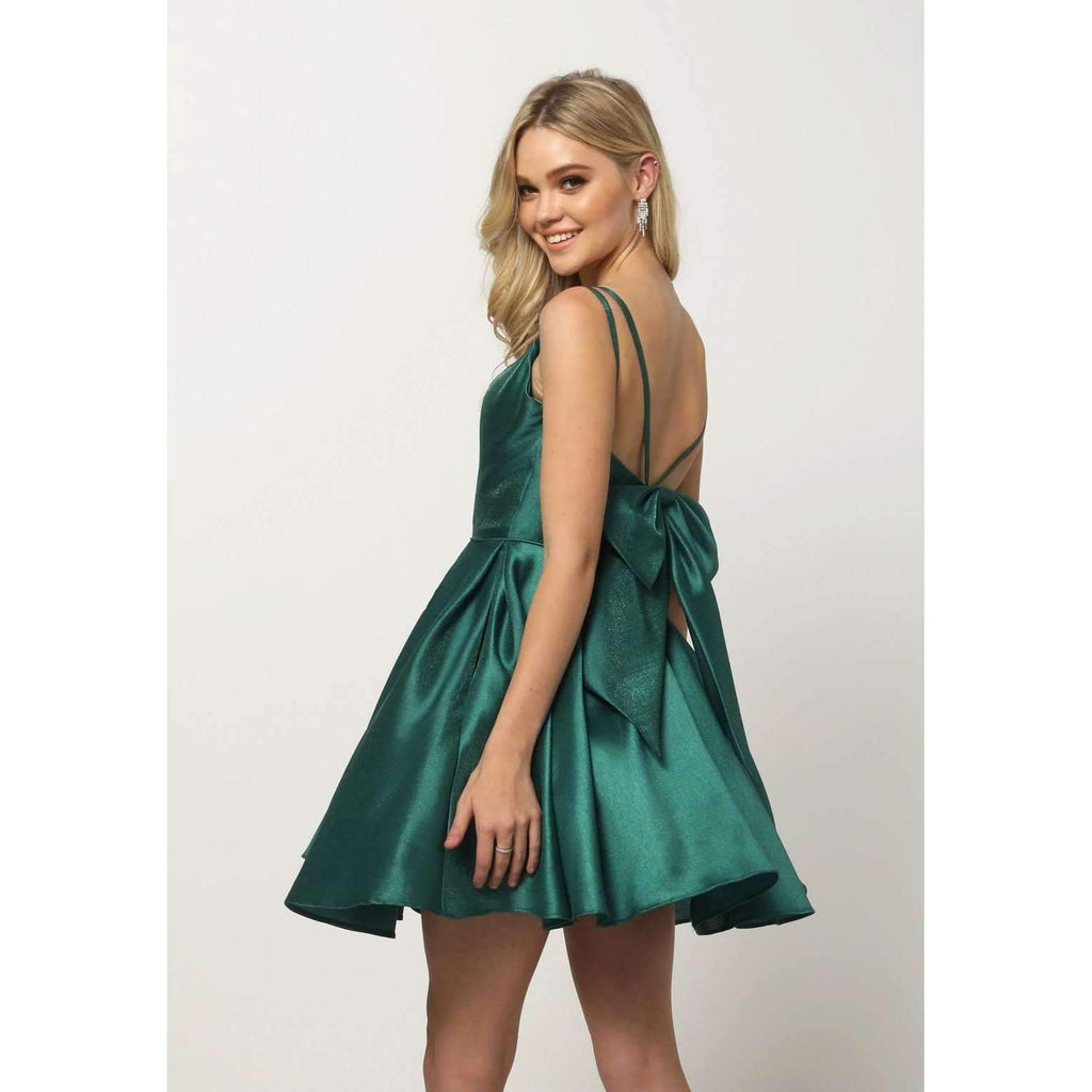 V-Neckline Soft Short Homecoming Dress JT827