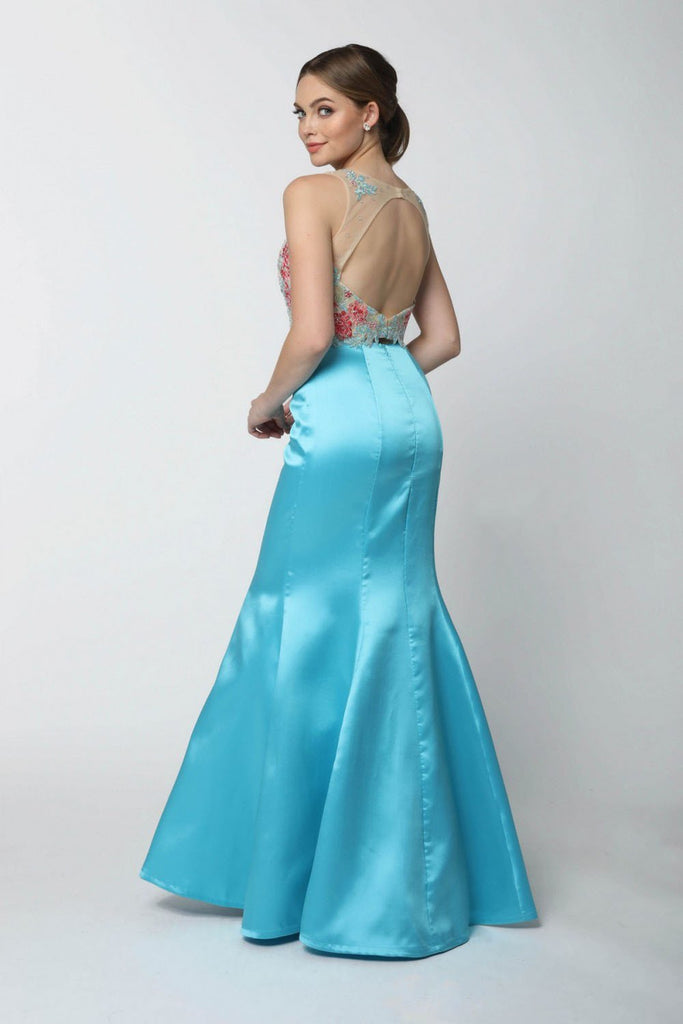 Jeweled Floral Illusion Neckline Long Prom Dress NX8287