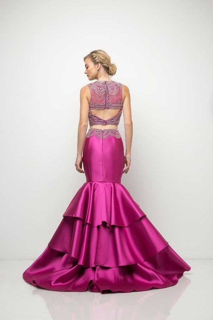 Beaded bodice Two Piece Mermaid Long Prom Gown CD83903