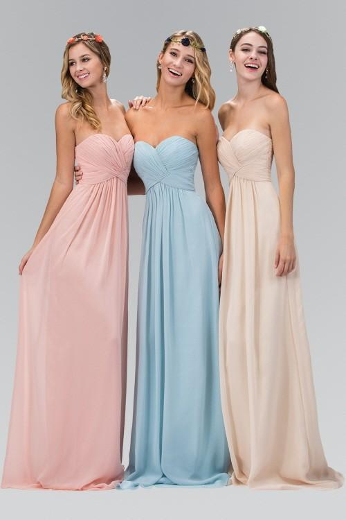 2019 New Sweetheart Pleated Criss-Cross Bodice Chiffon Floor Length Bridesmaid Dress GSGL2164