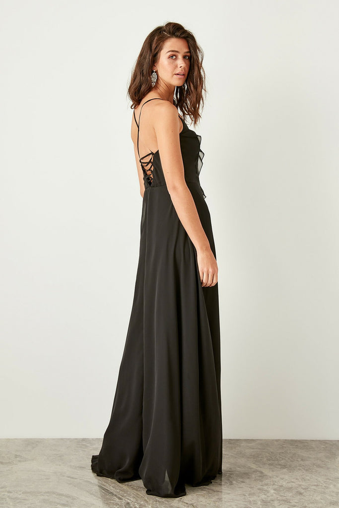 V-Neckline Sleeveless Black Leg Slit Long Evening Dress TKTPRAW19FZ0276