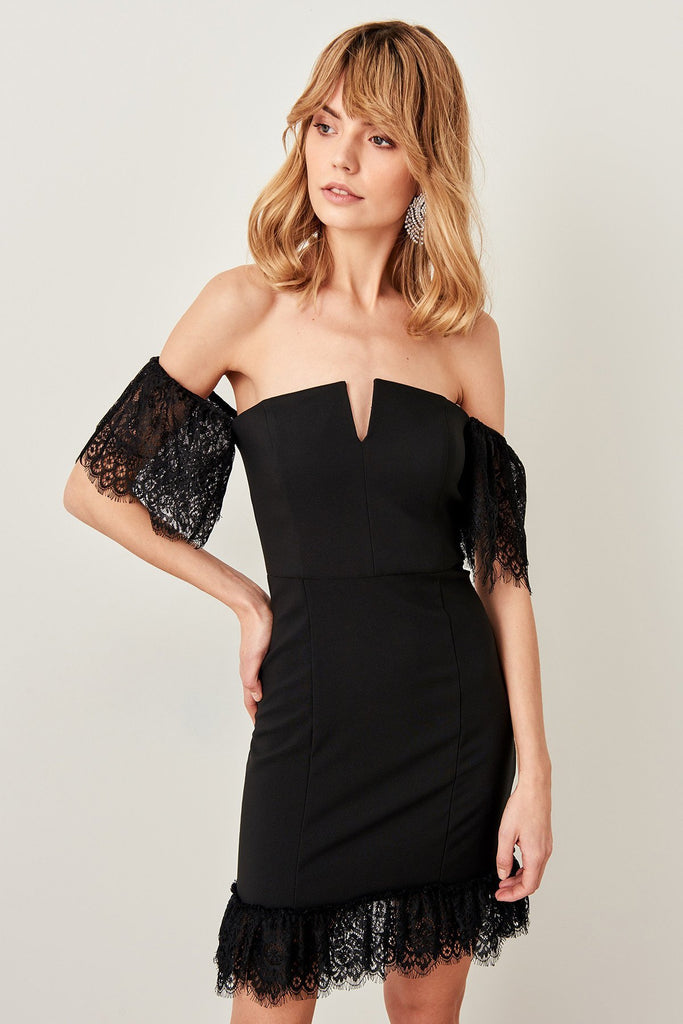 Bateau Neckline Off-Shoulder Short Evening Dress TKTPRSS19BB0254