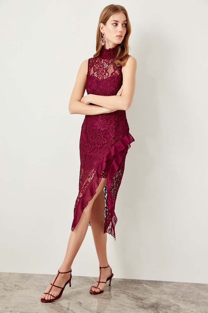 High Neckline Sleeveless Short BURGUNDY Evening Dress TKTPRAW19FZ0429