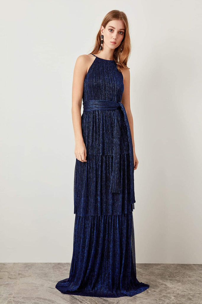 High Necklne Sleeveless Long Evening Dress TKTPRSS19FZ0032