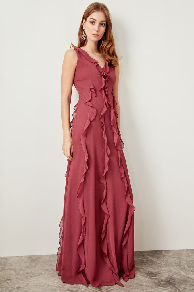 V-Neckline Sleeveless Long Evening Dress TKTPRSS19FZ0045