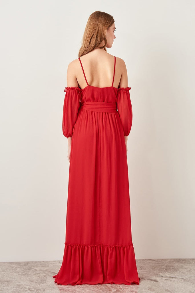 Unique Sleeves V-Neckline Long Evening Dress TKTPRSS19FZ0048