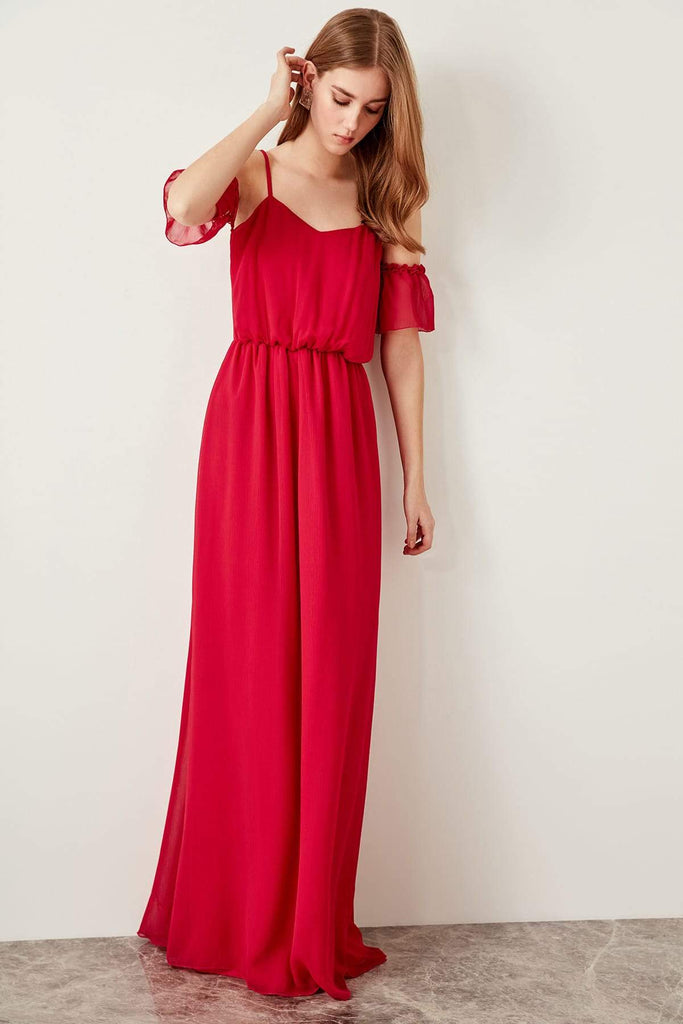 Square Neck Off-Shoulder A-line Long Evening Dress TKTPRSS19FZ0049