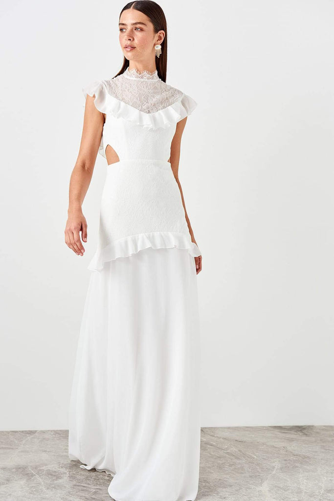 Sheer High Neckline Long A-line Dress TKTPRSS19DE0069